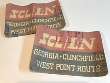 """(2) SCL/L&N RAILROAD GEORGIA CLINCHFIELD WEST POINT ROUTE DECALS 9x6"""" 3M Scotch"""