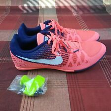 70ec558a6e8 NIKE Zoom Rival M 8 Track Running Spikes Shoes Bright Mango Blue Women s  Size 12