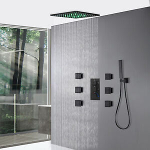 """Luxury Thermostatic12 """"LED Rain Mixer Shower System Combo Set with 6 Body Spray"""