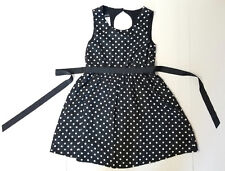 B/W Polka Dot Sleeveless Belted Dress by Holiday Editions Sz M 7/8 NWT