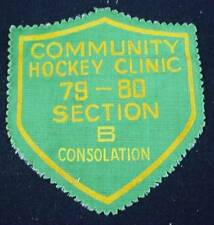 Vintage Patch COMMUNITY HOCKEY CLINIC 1979-80 SECTION B CONSOLATION