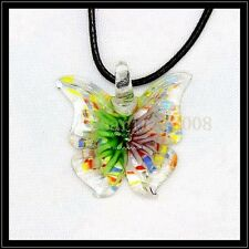 2016 New butterfly lampwork Murano art glass beaded pendant necklace BB31