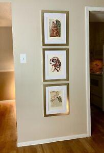THREE Salvador Dali Original 1960 Divine Comedy Woodcut Engravings Framed