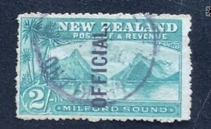 New Zealand 1898 Pictorials 2/- Milford Official - Used