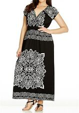 Stunning Black & White Paisley Cross Over MAXI DRESS With Elastic Waist Size 12