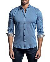 Jared Lang Trim Fit Woven Long Sleeve Button Down Shirt Men's 2XL XXL Blue $188