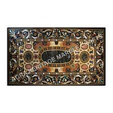 2x1 Meter Marble Black Dining Table Top Scagliola Inlay Hallway Patio Decor E975
