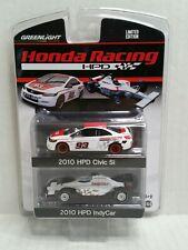 Greenlight 2010 Honda Racing Civic Si Indy Car 2 Pack HPD Promo White Black HTF
