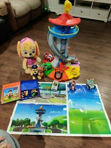 Paw Patrol My Size Lookout Tower 9 vehicles, book and mini figures and teddy's