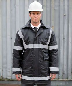 Result Site Manager Coat Hi Vis Security Parka Jacket Insulated Waterproof(R23X)