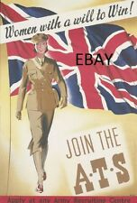 WW2 JOIN THE ATS AUXILIARY TERRITORIAL SERVICE WOMEN WRAC POSTER NEW A4 PRINT