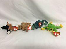 Ty Teenie Beanie Babies-Smoochy, Iggy, Chip y valiente Paquete (Con etiquetas)