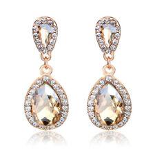 Pierced Champagne Gold Crystal Tear Drop Sparkling Diamante Dangle Earrings UK