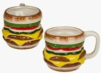 NOVELTY RETRO HAMBURGER CHEESE BURGER SHAPED 3D COFFEE MUG TEA CUP NEW IN BOX