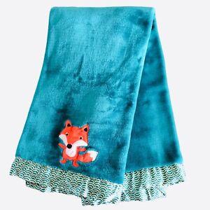 "Bananafish Studio Baby Blanket Orange Fox Green Soft Plush Satin Trim 30"" x 40"""