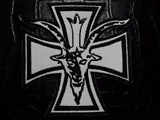 GOAT & IRON CROSS BLACK  ON WHITE  EMBROIDERED PATCH