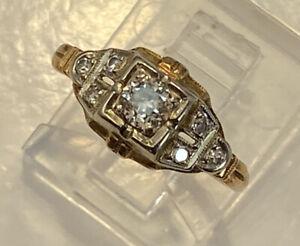 Vintage Antique Diamond 14K Two Tone White & Yellow Gold Promise Ring