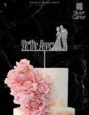 Wedding Cake Topper Personalized Mr Mrs Bride Groom Customized Wood Laser IP112