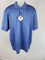 NWT Bullock & Jones Men's Blue 100% High Quality Cotton Polo Shirt Size L/52
