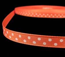 "5 Yds Orange White Swiss Polka Dot Grosgrain Ribbon 3/8""W"