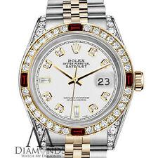 Mujer Rolex SS & Oro 31mm Datejust Reloj 8+ 2 Color Blanco Esfera & Diamante