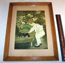 1907 Jessie Wilcox Smith , Child & Cat Print , Arts And Crafts Antique Oak Frame