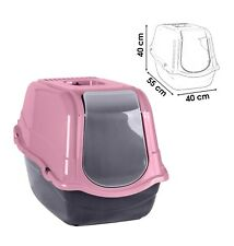 More details for pink portable hooded cat litter box covered tray hand carry travel pet toilet