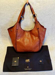 NEW Frye Ring Hobo Front Zip Pocket Shoulder Bag Cognac Leather Purse DB319 $398