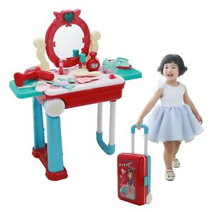 Kids Dressing Table Toy Girls toy vanity Make Up Desk With Case Pink Play Set
