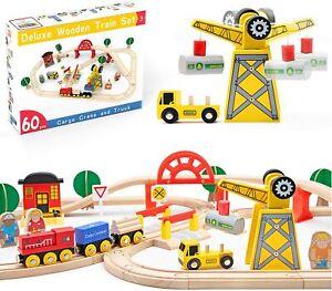 60 Pcs Wooden Train Set Railway Track Toy Fit Brio Thomas Compatible