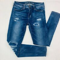 American Eagle Womens Jeans 4 Reg Blue Jegging Super Stretch Skinny Distressed