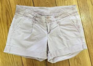Benetton Ladies Denim Shorts 8 W26 Hotpant Pastel Lilac Stretchy Holiday Casual