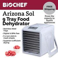Best Food Dehydrator BioChef Arizona Sol 9 Trays Beef Jerky, Dried Fruit- White