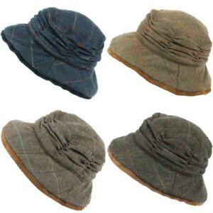 Tweed Chapeau Cloche Femmes Laine Hiver Bordure Hawkins Bleu Marron Femme