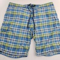 Eddie Bauer Men's Swim Trunk Shorts Size XL Nylon Plaid Blue Green
