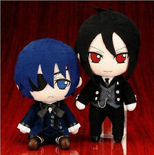 """2pcs Black Butler Kuroshitsuji Ciel Sebastian Michaelis Plush Toy Doll 10""""NEW"""