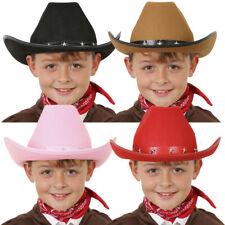 CHILDS STUDDED COWBOY HAT WILD WEST KIDS WESTERN COWGIRL FANCY DRESS STETSON