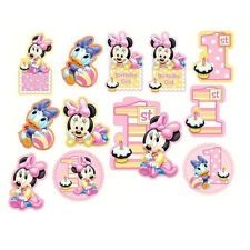 MINNIE MOUSE 1ST BIRTHDAY PARTY SUPPLIES 12 PCS PARTY CUTOUTS