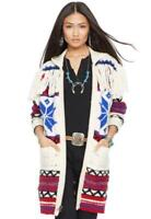 $998 Polo Ralph Lauren Women Southwestern Indian Fringed Knit Sweater Cardigan