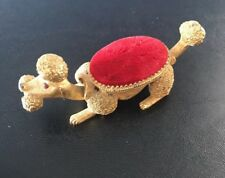 Vintage Florenza Goldtone Poodle Pin Cushion, Wobble Nodder Head And Tail