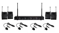 UHF 4 Channel Wireless Cordless Lavalier Microphone System Four Lapel Microphone
