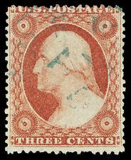 Scott 25 1857 3c Washington Issue Type I Used Fine Blue Cancel Cat $180