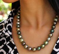 Round  Aaa 10-9 Mm Tahitian  Multicolor Natural Pearl Necklace 18 Inch