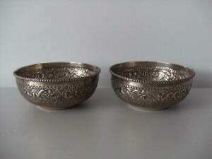 Pair Of Silver Indian Middle Eastern Bowls