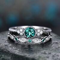 2Pcs Fashion 925 Silver Round Cut Sapphire Rings Women Wedding Jewelry Size 6-10