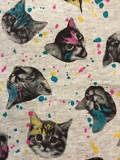 NWT Cat & Jack XXL 18 Gray Paint Splatter Kitty Cat Print Full Length Leggings
