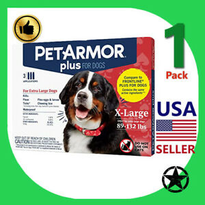 1 Pack PETARMOR Plus Flea and Tick Prevention for Extra Large Dogs 89-132 lbs