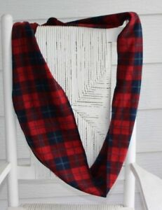 """Old Navy Plaid Fleece Infinity Circle Winter Scarf Unisex Red & Navy Blue 71""""X8"""""""