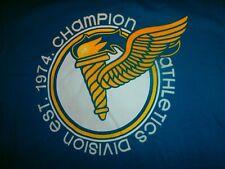 UNIQUE Champion T-shirt SINCE 1974 RETRO LOGO 74 AWESOME AQUA BLUE TRACK & FIELD