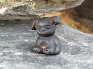 """Tiny Wee Small Miniature Rustic 1 1/2"""" Tall Cast Iron """"Griswold Pup"""" Paperweight"""